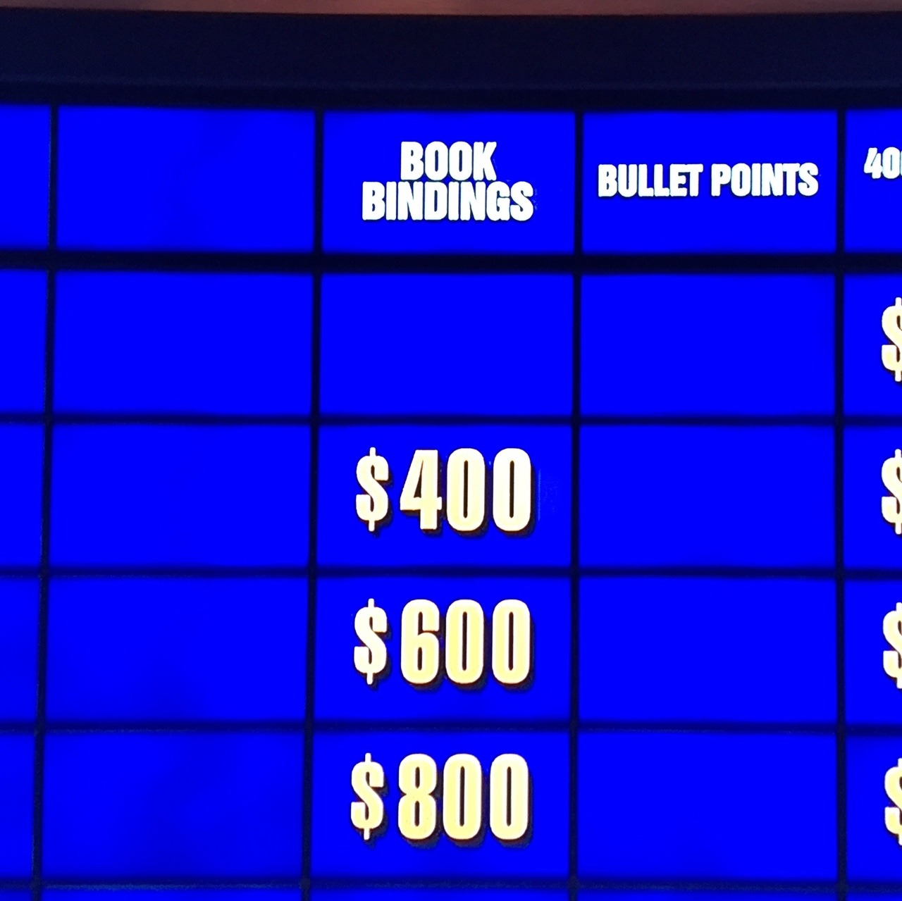Book Bindings on Jeopardy