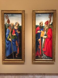 """Saints Benedict and Apollonia"" and ""Saints Paul and Frediano"" both by Filippino Lippi, c. 1483. Tempera glazed with oil on panel. In the collection of the Norton Simon Museum. Photographed in November 2016."