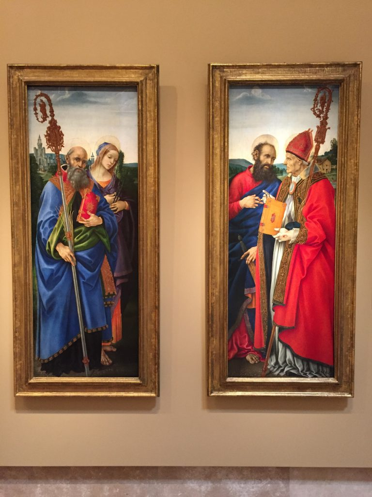 """""""Saints Benedict and Apollonia"""" and """"Saints Paul and Frediano"""" both by Filippino Lippi, c. 1483. Tempera glazed with oil on panel. In the collection of the Norton Simon Museum. Photographed in November 2016."""