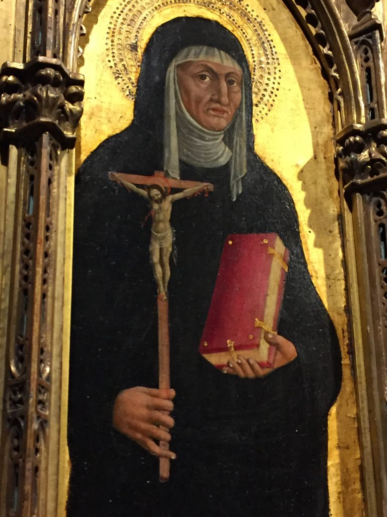 Saint Monica from an Augustinian altarpiece. By an unnamed artist from the Venetian school. 1450-75. In the collection of the Art Institute of Chicago. Photographed in May 2017.
